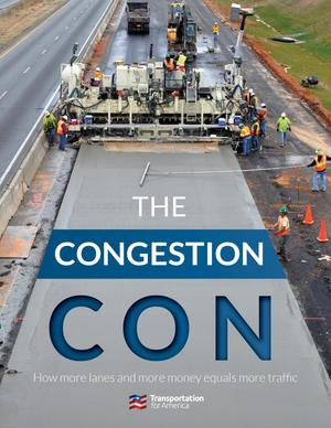 Cover of The Congestion Con, showing a road crew building new highway lanes.